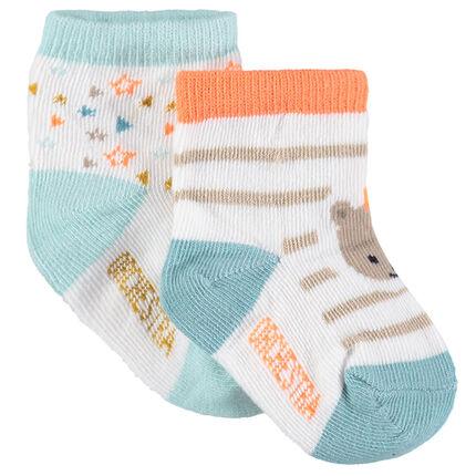 Juego de 2 pares de calcetines variados con motivo de jacquard