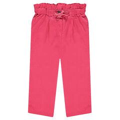 Pantalón rosa con cintura de nido de abeja y lazo brillante