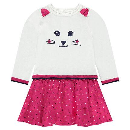 Vestido de manga larga con efecto 2 en 1 con orejas de relieve y gato estampado