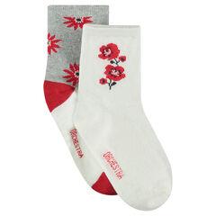 Juego de 2 pares de calcetines variados con flores de jácquard