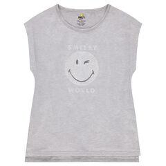 Júnior - Camiseta de manga corta de punto con malla y ©Smiley estampado
