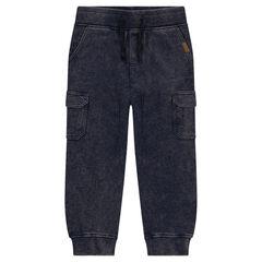 Júnior - Pantalón de chándal de felpa efecto nieve con bolsillos
