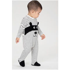 Pijama de terciopelo con rayas all over y animal con máscara