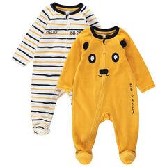 Juego de 2 pijamas con cremallera de terciopelo con dibujo de panda