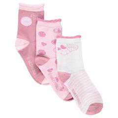 Juego de 3 pares de calcetines variados con canalé de fantasía y motivo ©Smiley