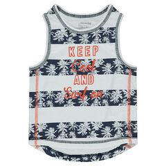 Camiseta con bandas con palmeras y mensaje estampado