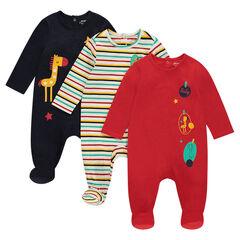 Pack de 3 pijamas de punto con animales estampados