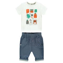Conjunto de camiseta de manga corta con personajes estampados y pantalón de chambray