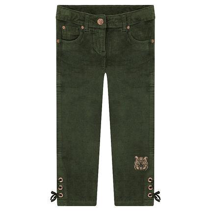 Pantalón de terciopelo con cordón en el bajo