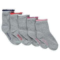 Juego de 5 pares de calcetines lisos