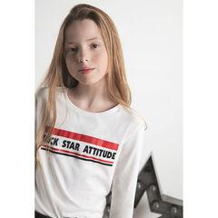 Júnior - Camiseta de punto de manga larga con mensaje estampado