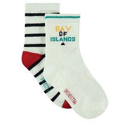 Juego de 2 pares de calcetines variados de rayas/lisos