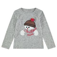 Camiseta de manga larga jaspeada de estilo navideño con muñeco de nieve bordado