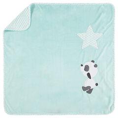 Manta de terciopelo y tejido de punto con panda con bordado