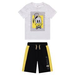 Conjunto de camiseta estampada del Pato Donald y bermudas de felpa bicolor