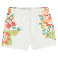 Pantalón corto con efecto relieve y estampado de flores y frutas