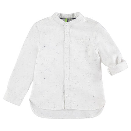 Camisa de manga larga de algodón neps con cuello tipo mao y bolsillo