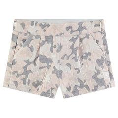 Pantalón corto con estampado militar de jaquard all over