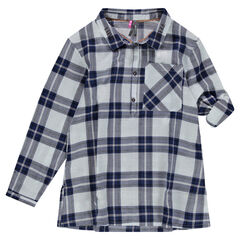 Júnior - Túnica de manga larga a cuadros estilo camisa