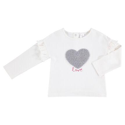 Camiseta de punto de manga larga con corazón de rizo