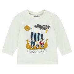 Camiseta de punto de manga larga con barco y vikingos estampados