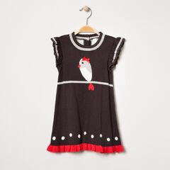 Vestido de punto con pájaro y lunares de jacquard