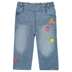 Jeans forme boule avec badges fruits