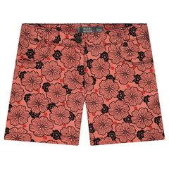 Júnior - Pantalón corto teñido con estampado de flores all over