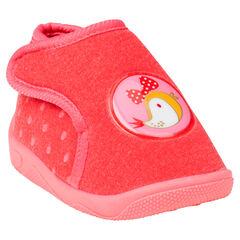 Zapatillas de forma botín con sujeción con velcro con detalle de pájaro
