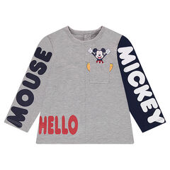 Camiseta de manga larga de punto con textos estampados de ©Disney Mickey y bolsillo