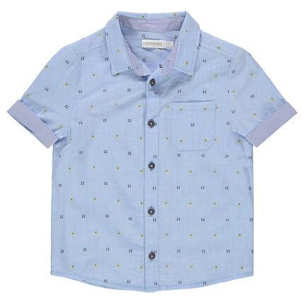 Camisa de manga corta con dibujo que contrasta de jacquard