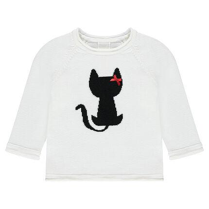 Jersey de punto con gato de jácquard y lazo satinado