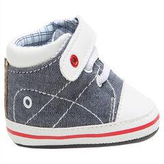 Zapatillas flexibles de tela con cordones y velcro con forro de cuadros