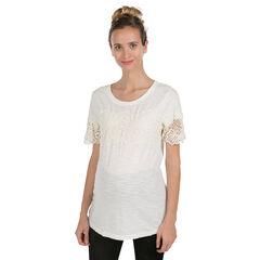 Camiseta premamá de manga corta con flores de guipur