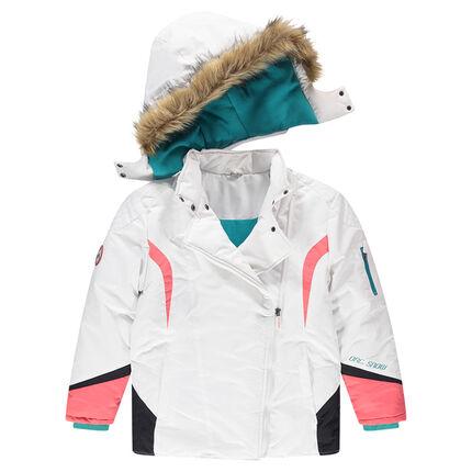 Júnior - Cazadora de esquí con capucha desmontable y pelo sintético