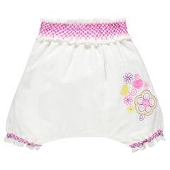 Pantalón harem de lino y algodón con bordados