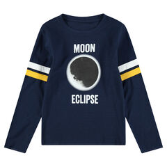 Júnior - Camiseta de punto de manga larga con eclipse estampado