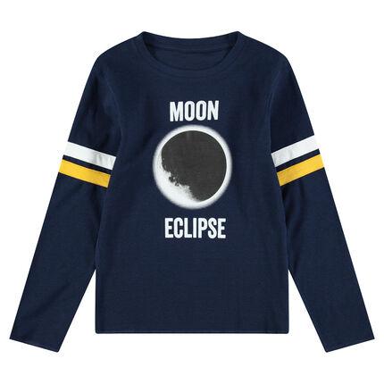 Júnior - Camiseta de punto de manga larga con eclipse estampado
