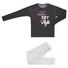 Júnior - Pijama largo bicolor de muletón y punto