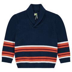 Jersey de punto con rayas de jacquard que contrastan y cuello tipo chal
