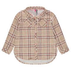 Camisa de manga larga de cuadros con bolsillos