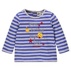 Camiseta manga larga con rayas con estampado