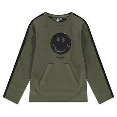 Camiseta de manga larga de punto grueso con ©Smiley de lentejuelas mágicas