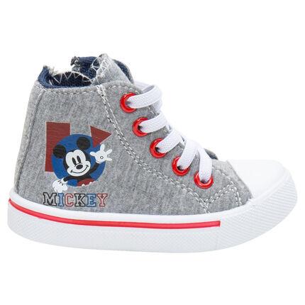 Zapatillas deportivas altas de punto con cordones y cremallera con estampado Mickey ©Disney de la 20 a la 23