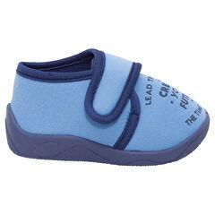 Zapatillas abotinadas de punto liso con velcro