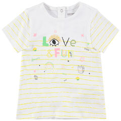 Camiseta de manga corta de rayas con dibujos de colores de fantasía
