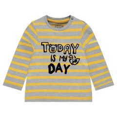 Camiseta de manga larga de rayas con mensaje estampado