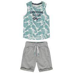 Conjunto con Camiseta de tirantes estampado végétal y pantalon corto à bolsillos
