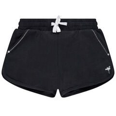 pantalon corto en jersey liso con estampado plateado