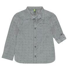 Camisa de mangas que se pueden recoger con dibujo de jacquard efecto neps